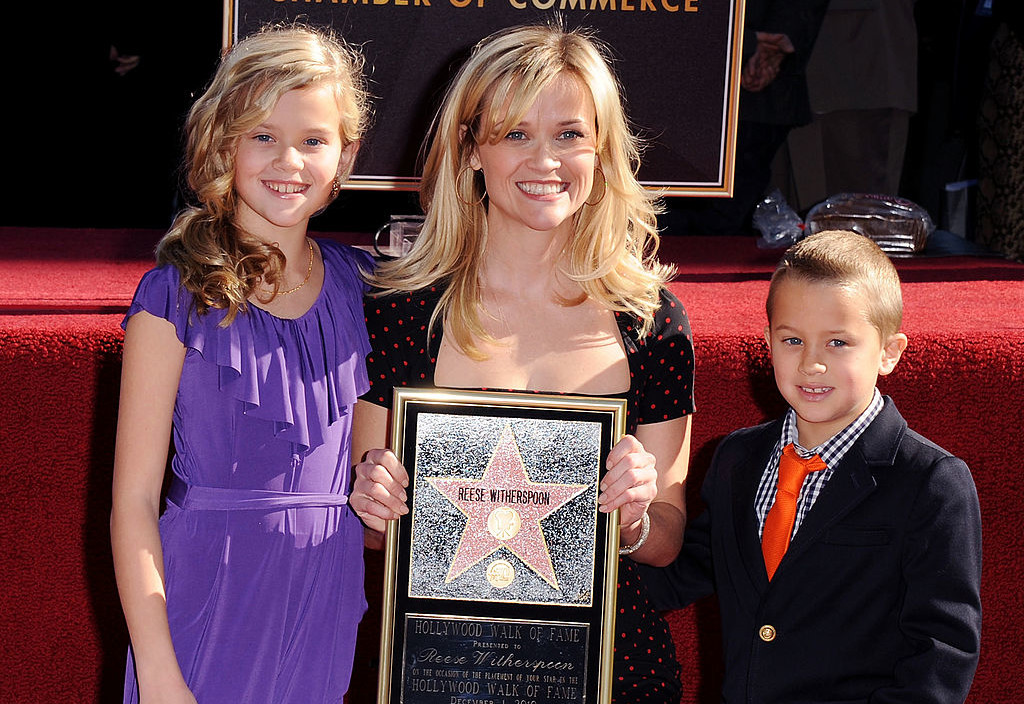 HOLLYWOOD, CA - DECEMBER 01:  Reese Witherspoon, daughter Ava Elizabeth Phillippe (L) and son Deacon Phillippe (R) pose at the Reese Witherspoon Hollywood Walk Of Fame Star Induction Ceremony on December 1, 2010 in Hollywood, California.  (Photo by Jon Kopaloff/FilmMagic)